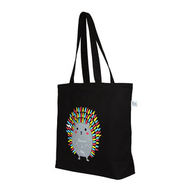 Large Black 'Hug me Porcupine' Tote Bag
