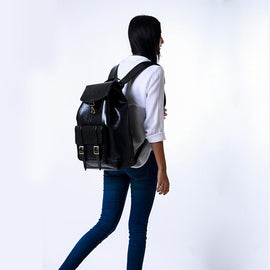 Explorer Backpack in Vegan Leather - Black