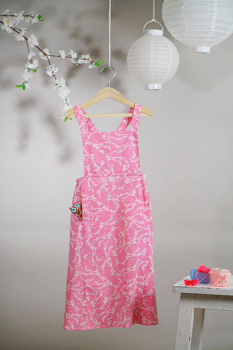 When I go for Hanami' pinafore maxi dress in cherry blossom hand block print