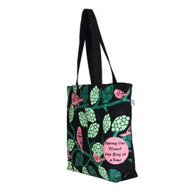 Black Large 'Sparrows' Tote Bag