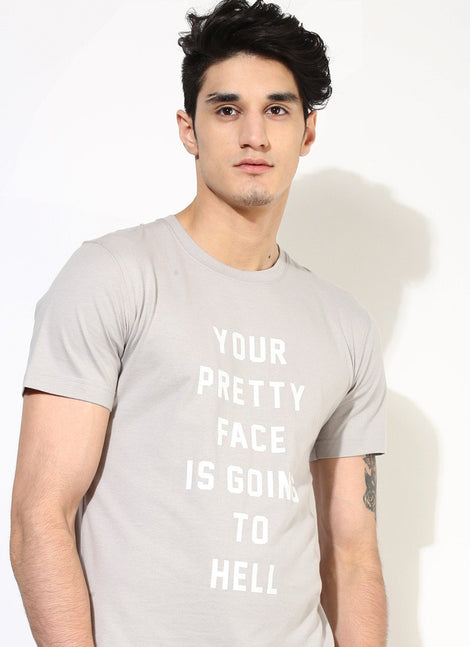 Men's Organic Cotton T-Shirt with Pretty Face Print - Brown Boy India - Men's Organic Cotton T-Shirt - 1