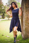 BLACK ASYMMETRIC ORGANIC DRESS