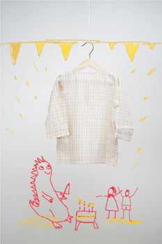'Dinosaur Pyjama Party - Beige and Pink Checks'