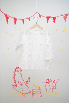 'Dinosaur Pyjama Party - White Pink Jamdani'