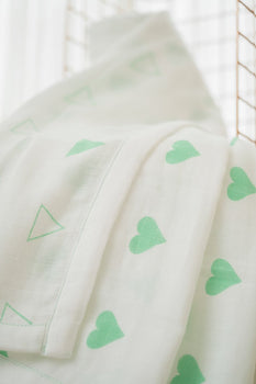 'Grace' Organic Cotton Blanket/ Dohar in Green