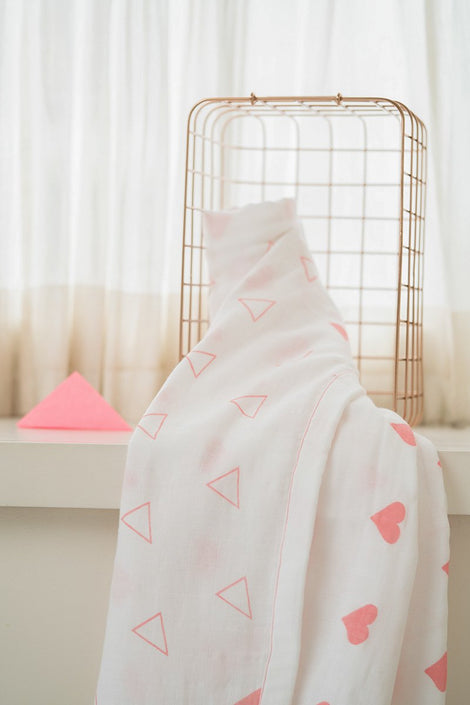 'Grace' Organic Cotton Blanket/ Dohar in Pink