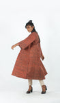 Brick red long jacket Dress