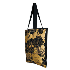Black Cotton 'Flowers' Tote Bag
