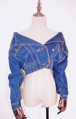 【One Of A Kind】Minami Off Shoulder Crop Denim Jacket