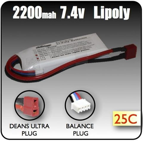 2200mah 7.4 Volt 2 Cell Lipoly Battery