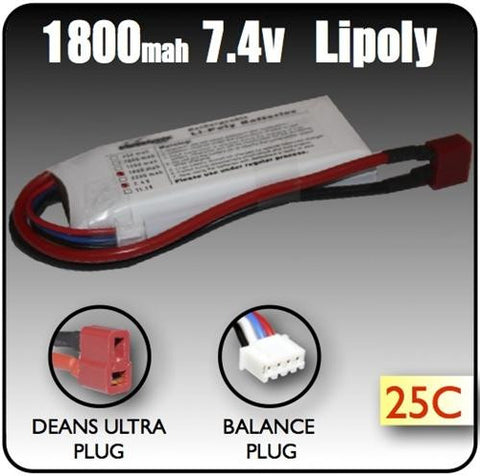 1800mah 7.4 Volt 2 Cell Lipoly Battery