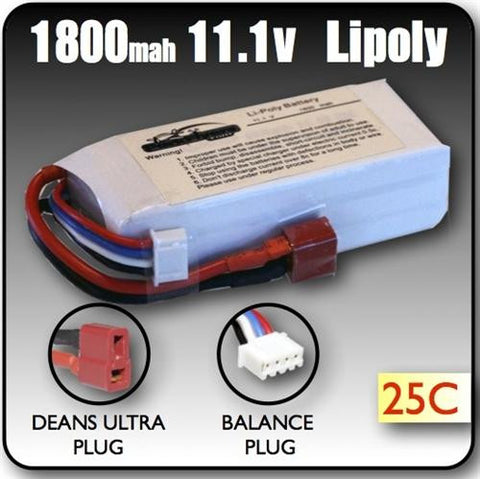 1800mah 11.1 Volt 3 Cell Lipoly Battery