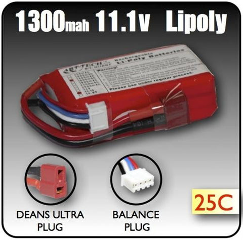 1300mah 11.1 Volt 3 Cell LiPoly Battery