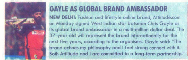Gayle as Global Brand Ambassador - Milleniumpost Newspaper Clip