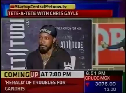 The face of Attiitude Chris Gayle's special interview with ET NOW.