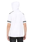 WHITE HOODIE T-SHIRT WITH TAPED AND BLACK CAP