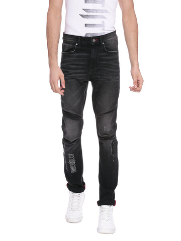 ATTIITUDE BLACK DISTRESSED DENIM JOGGERS