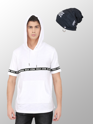GREY PUFF PRINT HOODED T-SHIRT WITH GREY AND WHITE SPL-WASH MASK