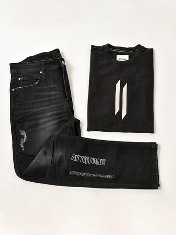 ATTIITUDE BLACK DISTRESSED DENIM JOGGERS + ATTIITUDE HOLLOW LOGO GREY VEST