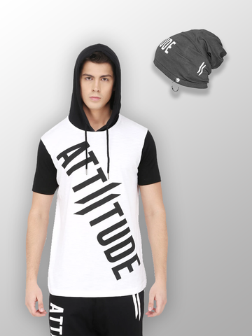WHITE SLEEVELESS HOODED T-SHIRT AND BLACK CAP