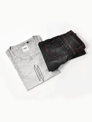 ATTIITUDE BLACK DISTRESSED DENIM JOGGERS + ATTIITUDE CPD TREATED HOLLOW LOGO LIGHT GREY VEST