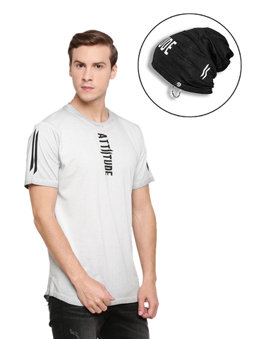 BLACK HOODED T-SHIRT AND WHITE ARM SLEEVE
