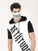 BLACK HOODED T-SHIRT WITH LT-GREY MASK