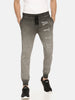 Grey Washed Slim Fit Jogger With Vertical Logo Print