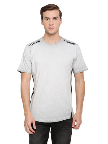 Attiitude Pigment Print Short Sleeve  Light Grey T-Shirt