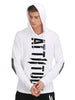 MEN WHITE PRINTED HOODED T-SHIRT