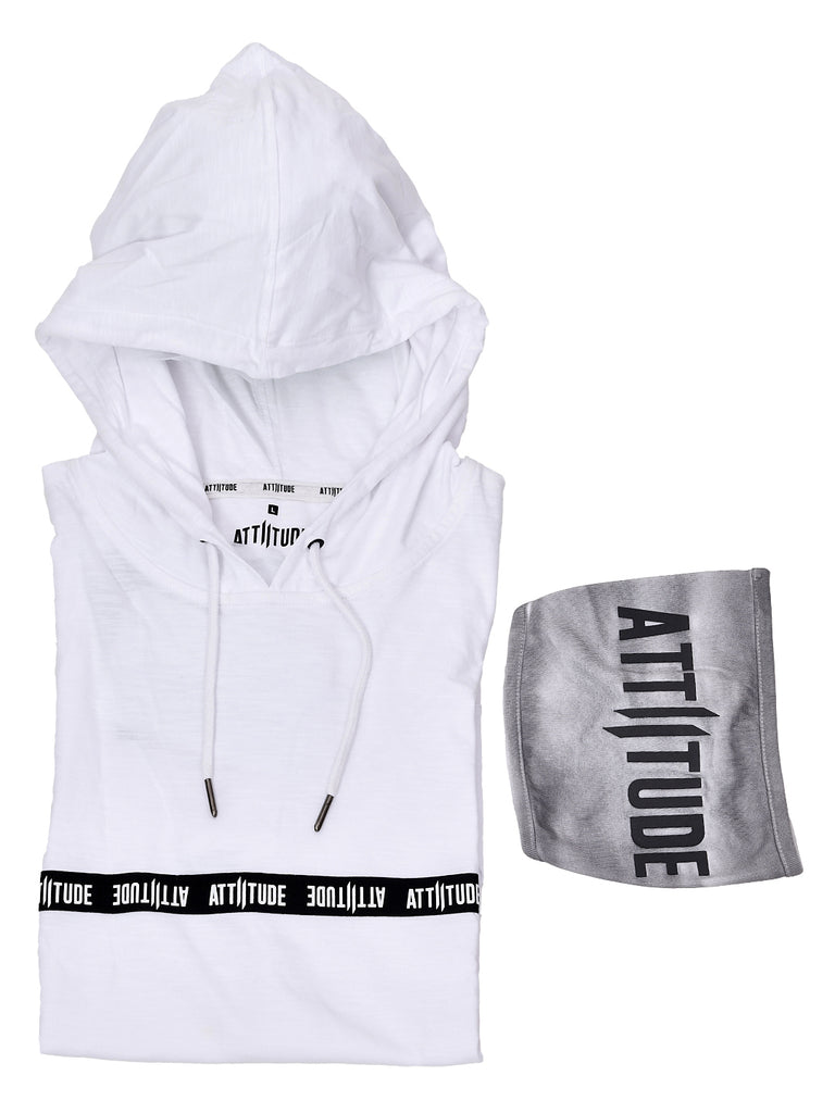 WHITE HOODED T-SHIRT WITH TAPED AND SPL WASH EFFECT MASK