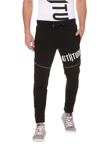 Attiitude Slim Fit Black Quilted Joggers