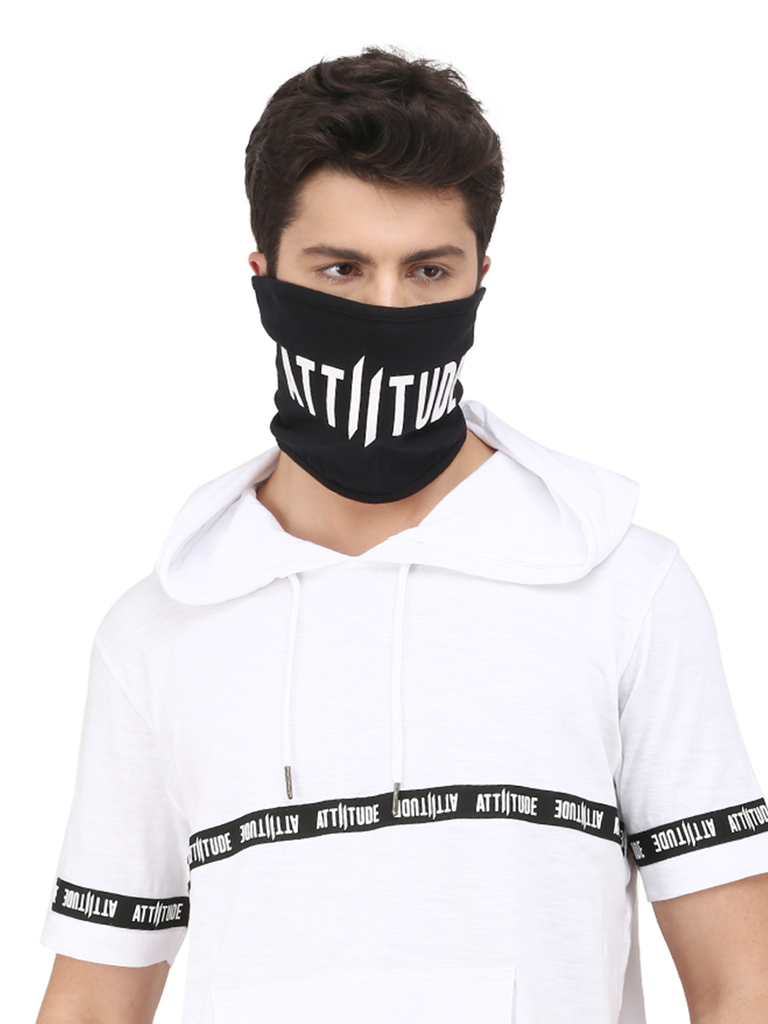 WHITE HOODED T-SHIRT WITH TAPED AND BLACK MASK