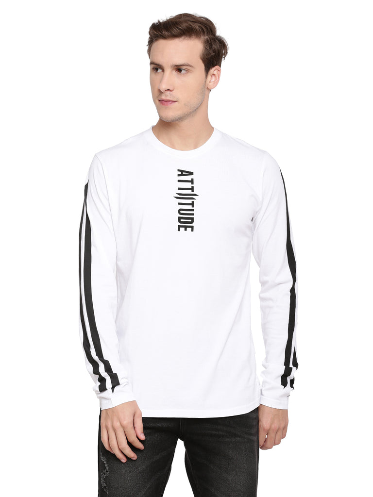 Attiitude White Full Sleeve T-Shirt With Vertical Pigment Print