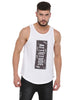 ATTIITUDE WHITE TANKTOP WITH RAW EDGE APPLIQUE
