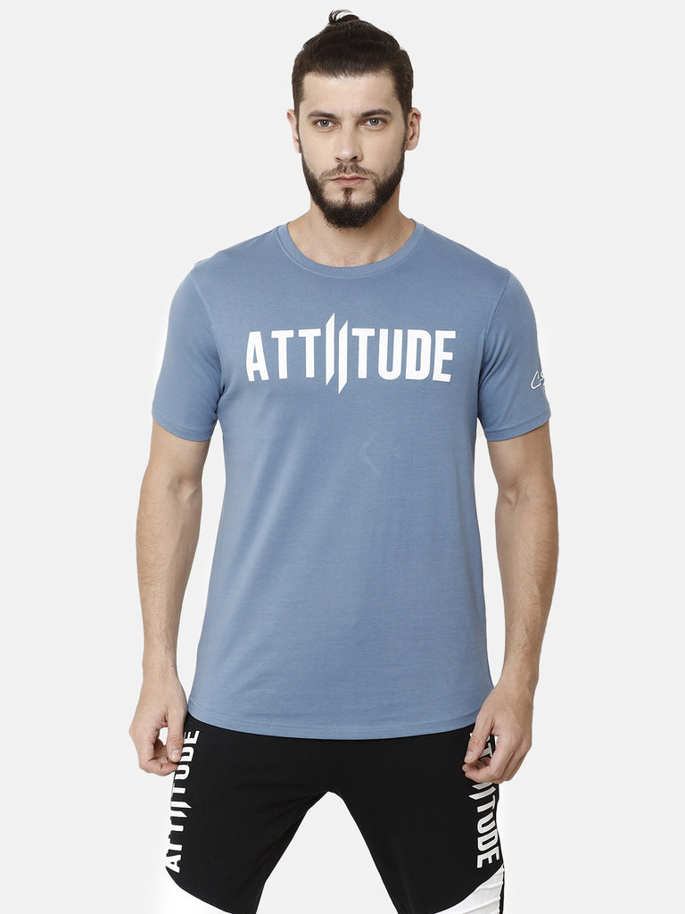 Attiitude Brand Logo Printed T-Shirt  Torquoise Blue