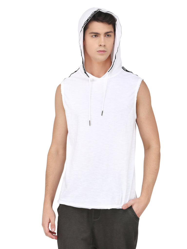WHITE SLEEVELESS HOODED T-SHIRT WITH PRINTED TAPE.