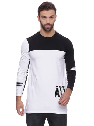 Color Blocking Full sleeve T shirt with Hollow HD print