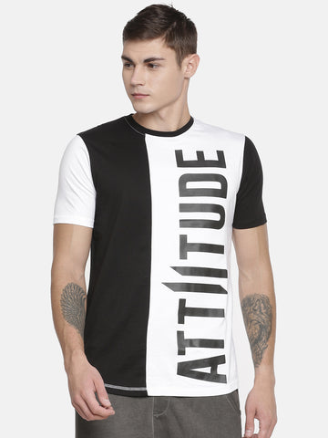 ATTIITUDE Medallion Printed Black T-Shirt