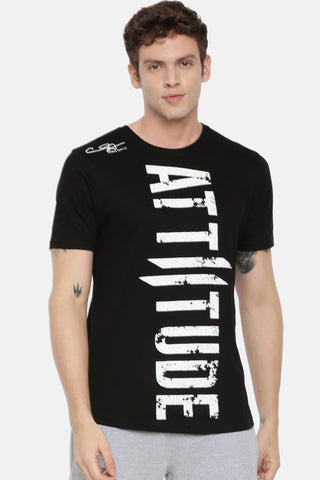 Attiitude Medallion Printed Logo T-Shirt-Red