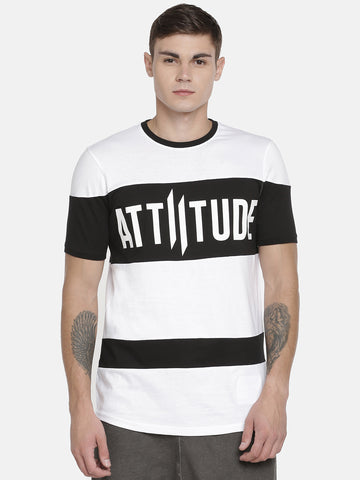 ATTIITUDE Panelled Flock Print Full Sleeve Black T-Shirt.