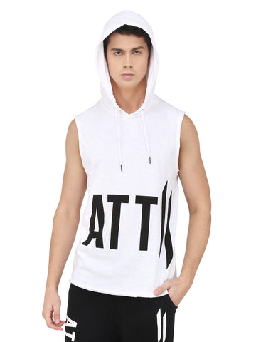 WHITE HOODED T-SHIRT SHORT SLEEVE BRANDING.