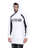 Attiitude White Overlapped Styled Long line Hoodies