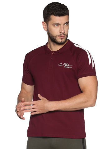 ALL GOOD-MEN'S HALF SLEEVE POLO T-SHIRT-Plum purple