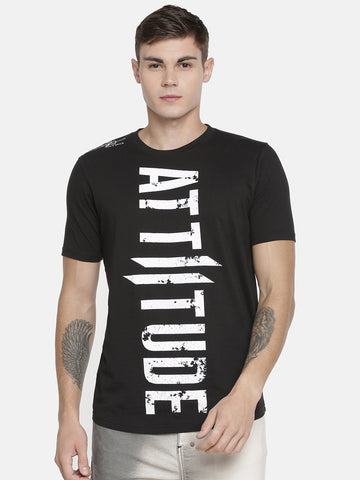Attiitude Raw Edge Panel Black T shirt