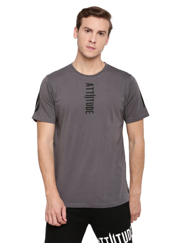 Attiitude Dark Grey T-Shirt With Vertical Pigment Print