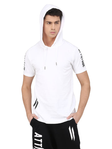 Attiitude white longline hoodies with black splatter treatment