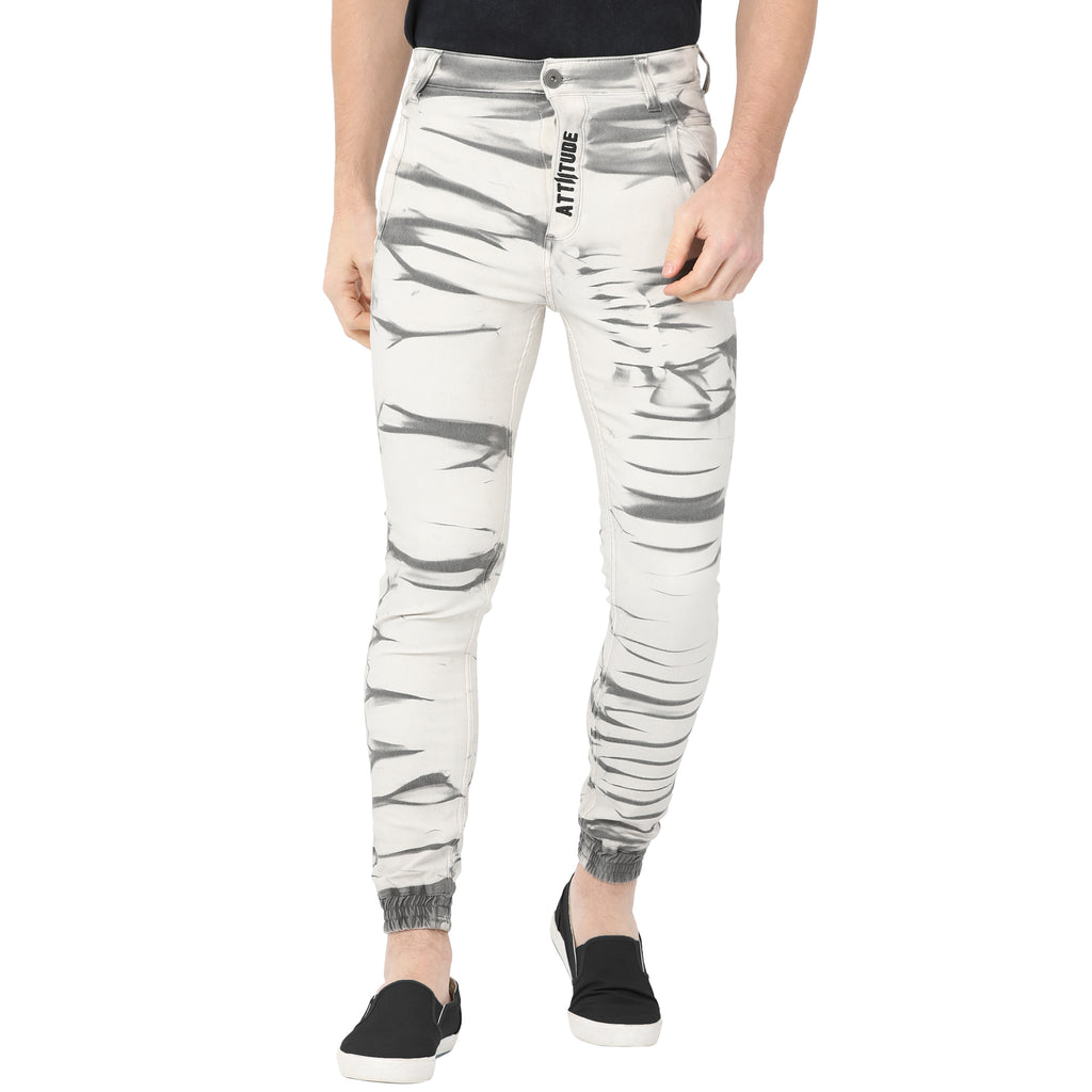 Attiitude White Slim-Fit Denims for Men