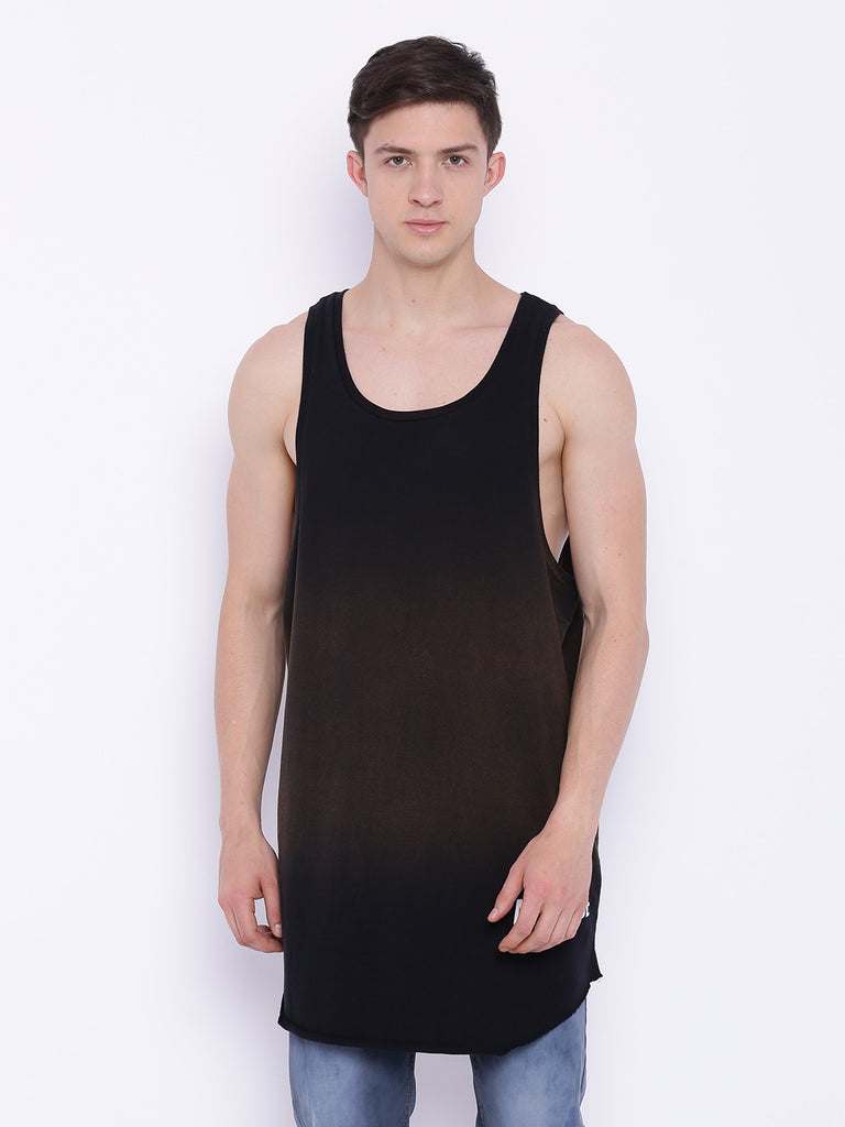 Attiitude Black longline vest with Acid Wash