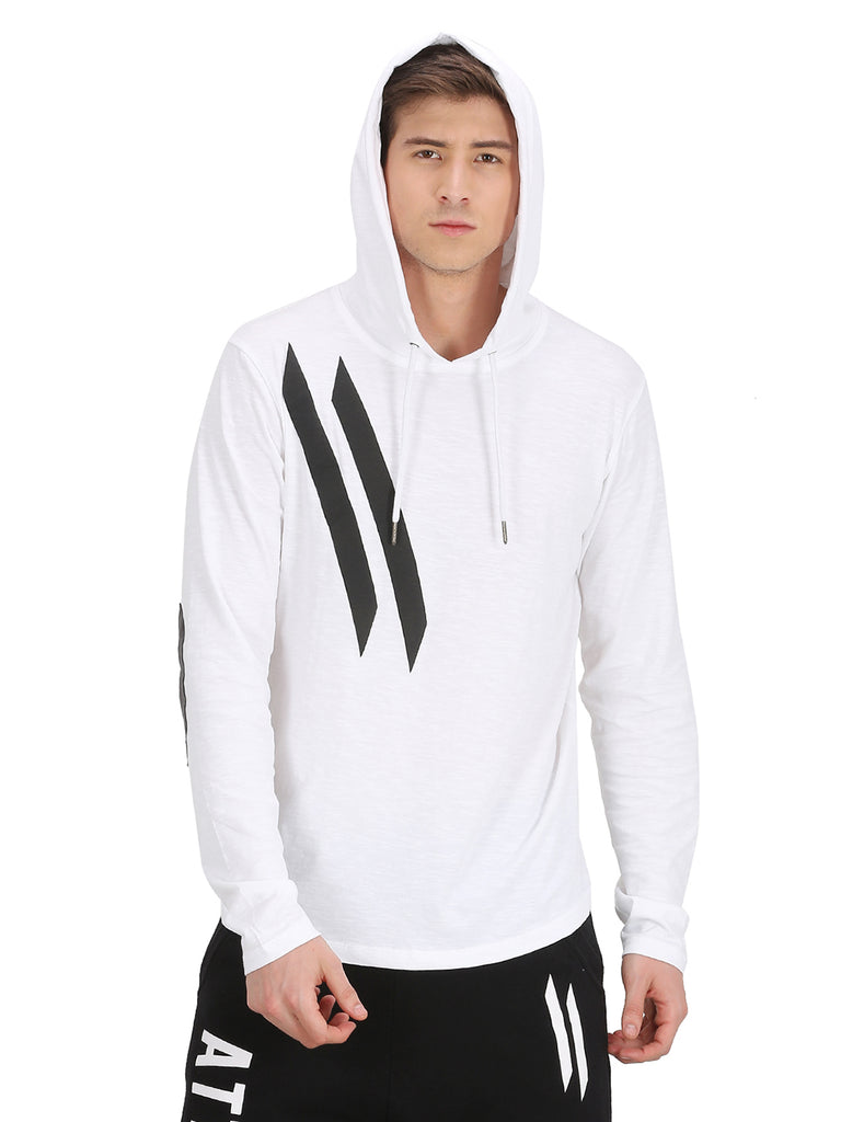 ELBOW PATCH & DIAGONAL LOGO WHITE HOODED T-SHIRT